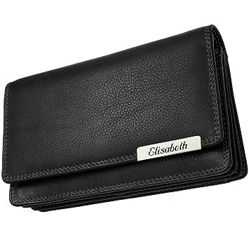 Cadenis Damen Geldbörse Geldbeutel mit Gravur quer 19,5x9,5cm Farbe wählbar
