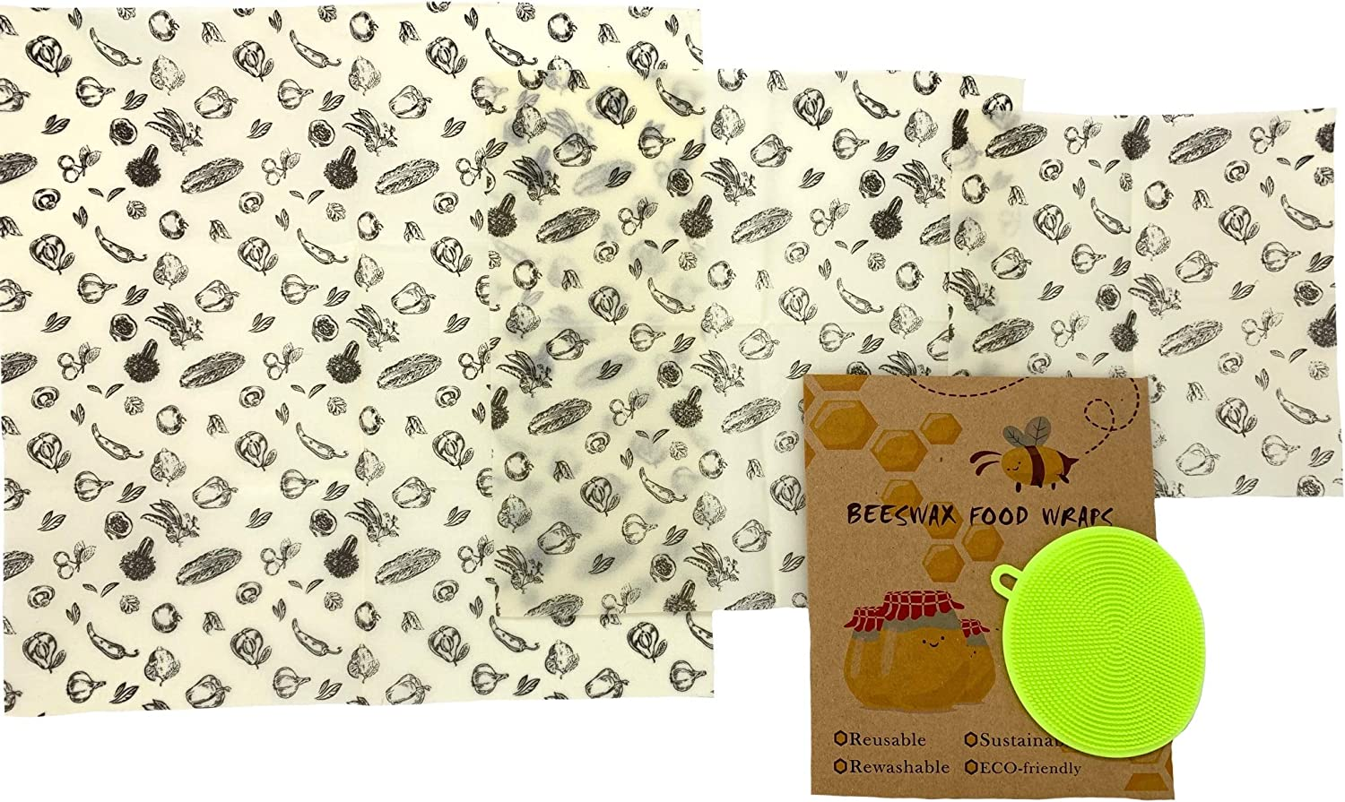 Beeswax Reusable Food Wraps w/Free Produce Scrubber - 3 Sizes - Nature's Solution to Plastic Food Wrap Alternatives - Fresher, Longer, Portable, Washable by Rich Rose Supply Co. (Produce Variety)