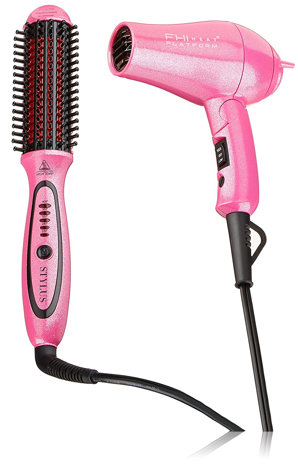 Amazon Com Fhi Heat Limited Edition Pink Stylus Thermal Styling Brush And Mini Turbo Hair Dryer Premium Beauty