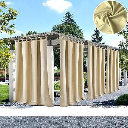 UniEco Cortina de Exterior Cierre de Velcro, para jardín, balcón, Cortinas Opacas,