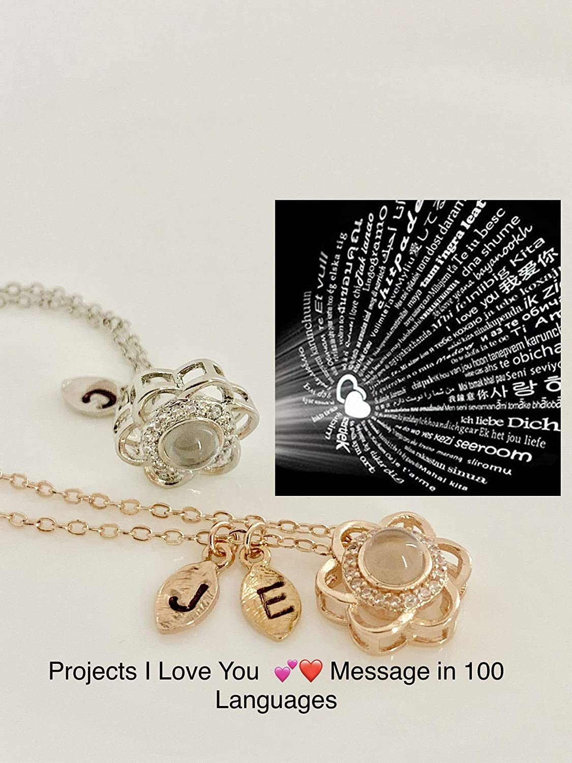 Mothers Day Jewelry Customized Photo Necklace I Love You 100 Languages Gift for Mom from Son Daughter Custom Projection Locket