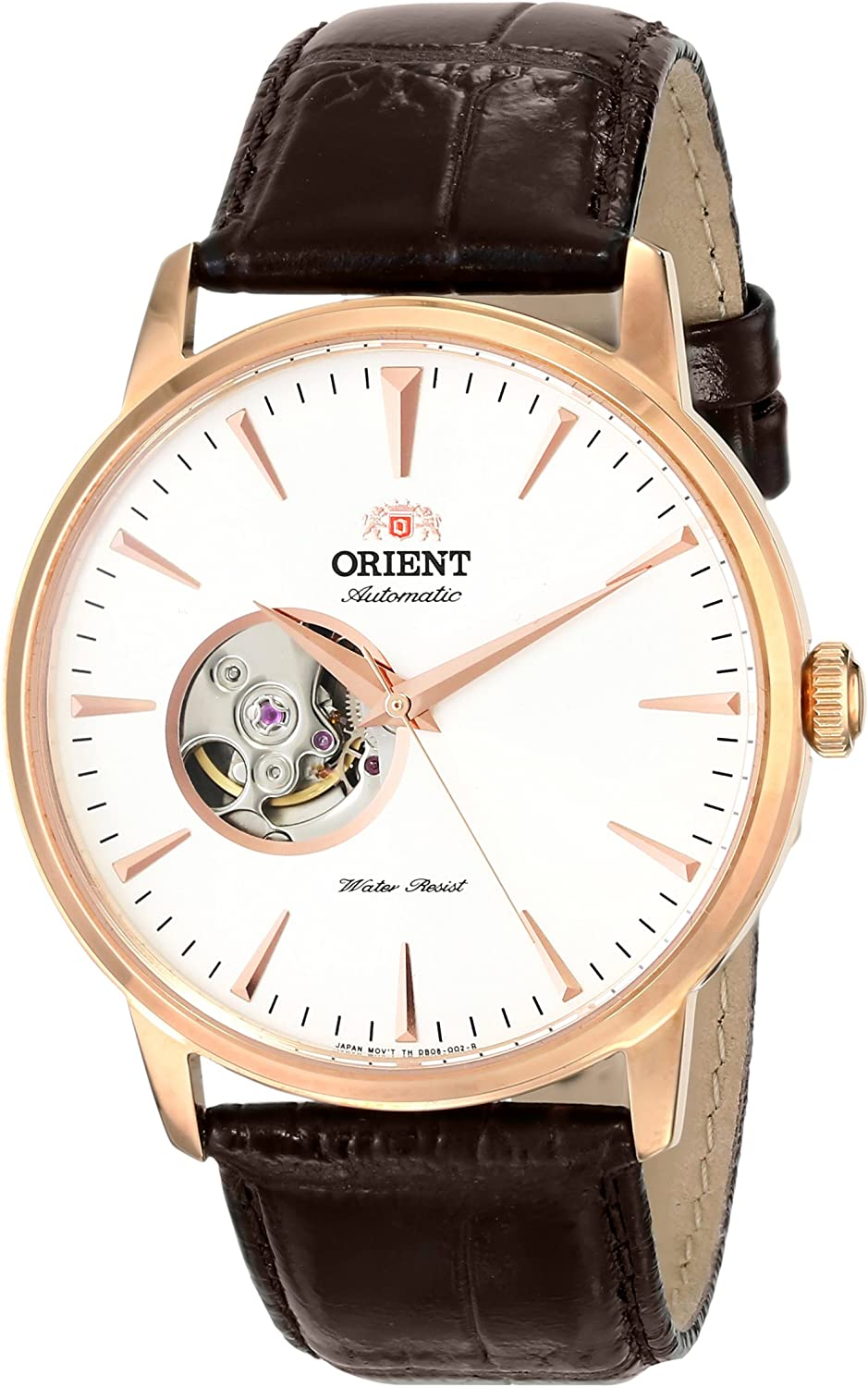 Orient Men s FDB08001W0 Esteem Stainless Steel Automatic Watch with Leather Band