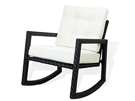 Patio Rattan Resin Outdoor Garden Wicker Rocking Chair W/cushion. Black  Color