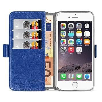 JAMMYLIZARD Funda iPhone 6 Plus 6S Plus carcasa iphone 6 Plus 6S Plus Funda estilo libro Deluxe Range tarjetas cierre magnético, azul