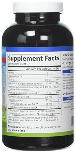 Amazon.com: Carlson Solar D Gems, 4,000 IU (100 mcg) D3 + 115 mg Omega-3s, Bone & Immune Health, 120 Soft Gels: Health & Personal Care