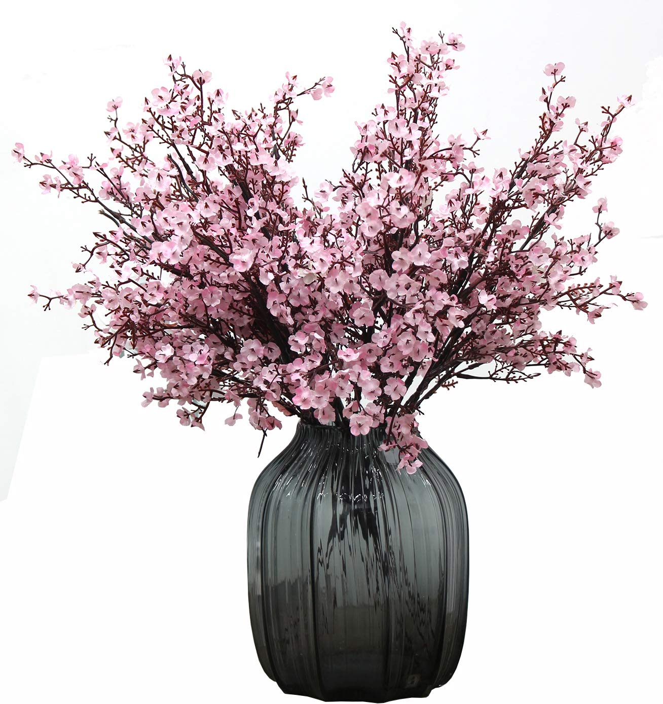 JAKY Global Babys Breath Fabric Cloth Artificial Flowers 6 Bundle European Fake Silk Plants Decor Wedding Party Decoration Bouquets Real Touch DIY Home Garden (Light Pink-6pcs)
