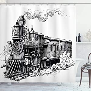 """Ambesonne Steam Engine Shower Curtain, Rustic Old Train in Country Locomotive Wooden Wagons Rail Road with Smoke, Cloth Fabric Bathroom Decor Set with Hooks, 70"""" Long, Black and White"""