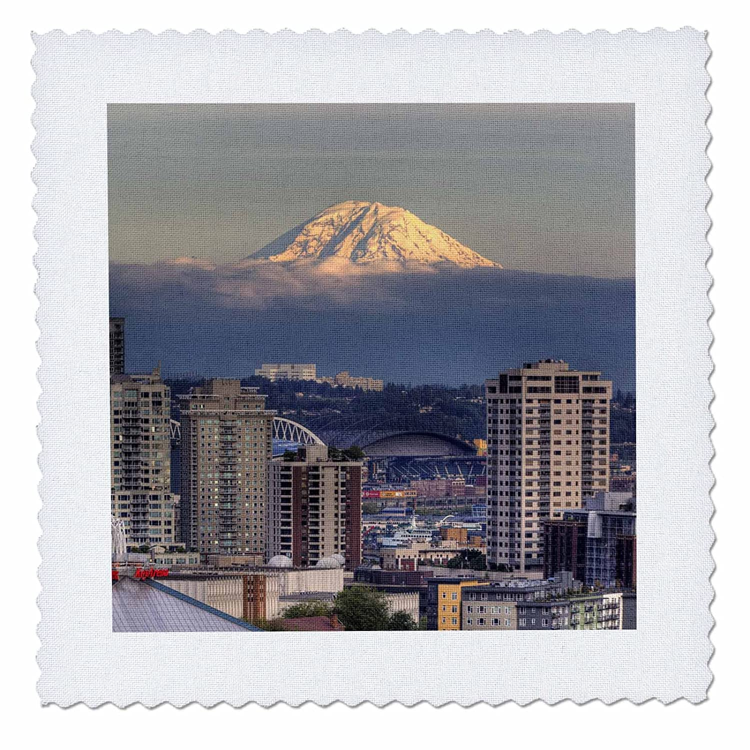 US48 JWI3558 Jamie and Judy Wild qs/_96389/_2 6 by 6-inch Seattle 3dRose WA Quilt Square Mount Rainier from Kerry Park