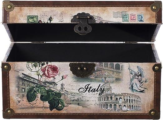 Kiste Truhe Holztruhe mit Leder bezogen  Vintage Look Schatzkiste Kiste KD062