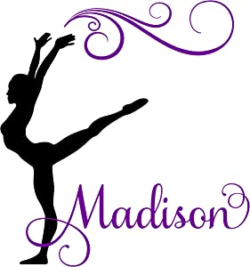"Gymnast Gymnastics Dance Personalized Custom Girl Name Vinyl Wall Decal Sticker Room Decor B (LARGE 31"" x 28"" inches)"