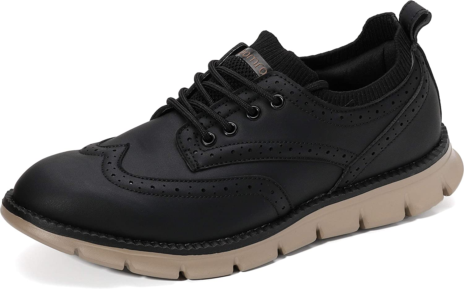 JOOMRA Men's Knit/Leather Wingtip Oxford Dress Shoes