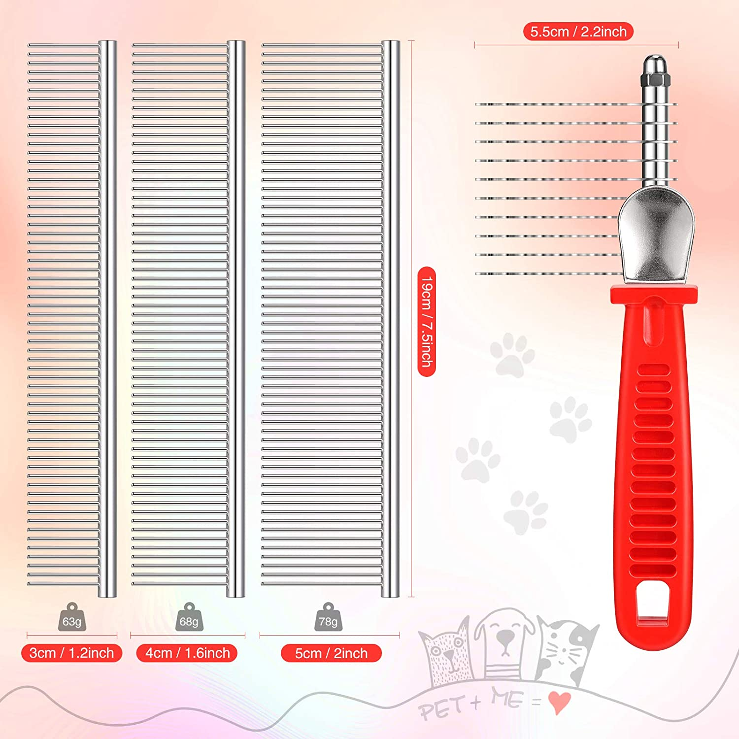 Pet Dematting Comb with 3 Stainless Steel Dog Comb with Rounded Ends Fur Rake Comb Pet Grooming Tool for Long and Short Hair Dogs Cats to Trim Dead Matted Knotted Undercoat