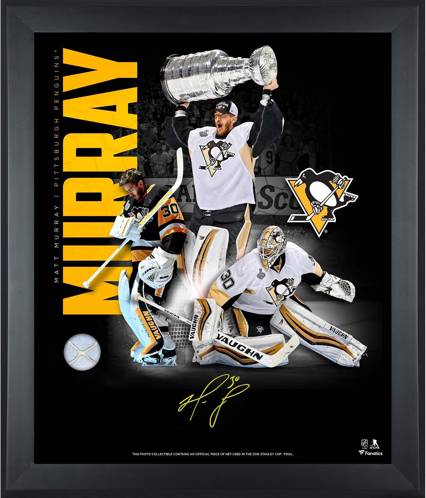 """Matt Murray Pittsburgh Penguins Framed Autographed 20"""" x 24"""" Art Noir Photograph with Piece of Game Used Net Limited Edition of 30 Fanatics Authentic Certified"""