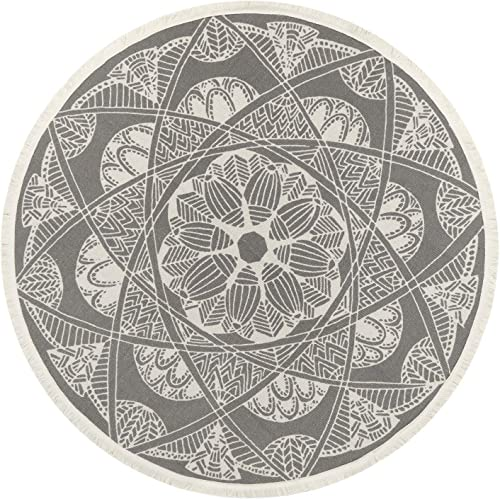 Cotton Woven Round Area Rug 4 Diameter, KIMODE Mandala Print Tassels Fringe Throw Rugs Machine Washable Indoor Outdoor Floor Runner Rug Mat for Bedroom Living Room Children Playroom, Floral