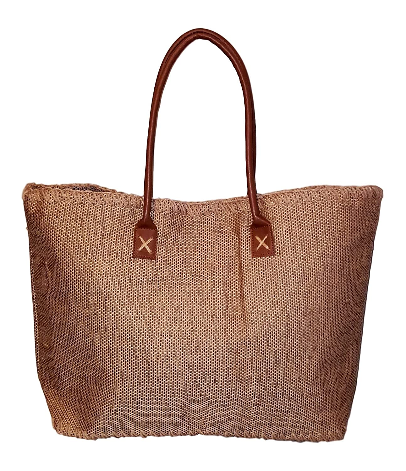 2c4dd41d5 Amazon.com | 101 BEACH Large Brown Jute Tote Bag - Personalized Custom  Embroidered Monogram | Travel Totes