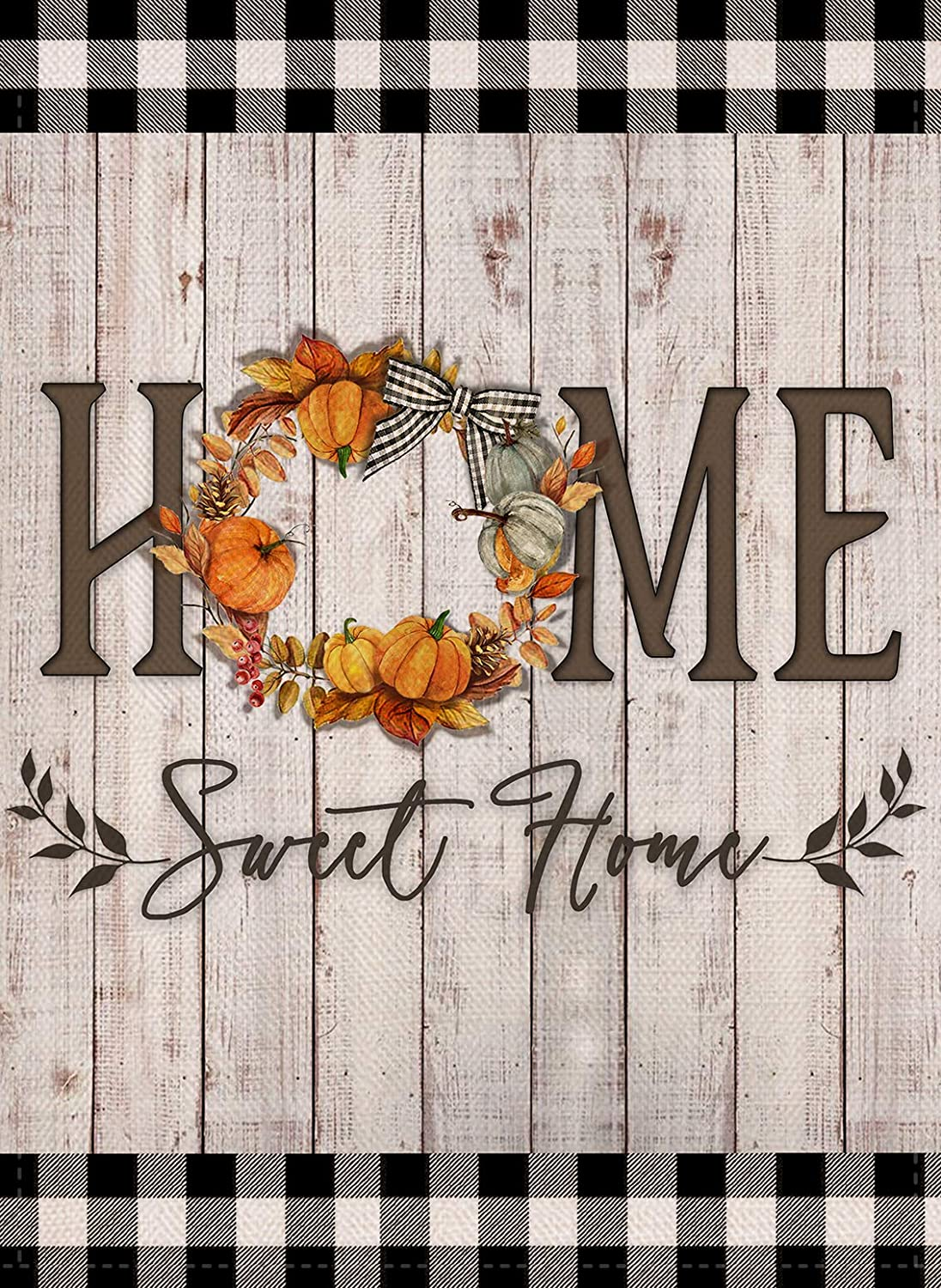 Covido Home Sweet Home Thanksgiving Decorative Fall Garden Flag, Buffalo Plaid Check House Yard Decor Outdoor Small Flag Pumpkin Wreath Sign Autumn Farmhouse Outside Decoration Flag Double Sided 12x18