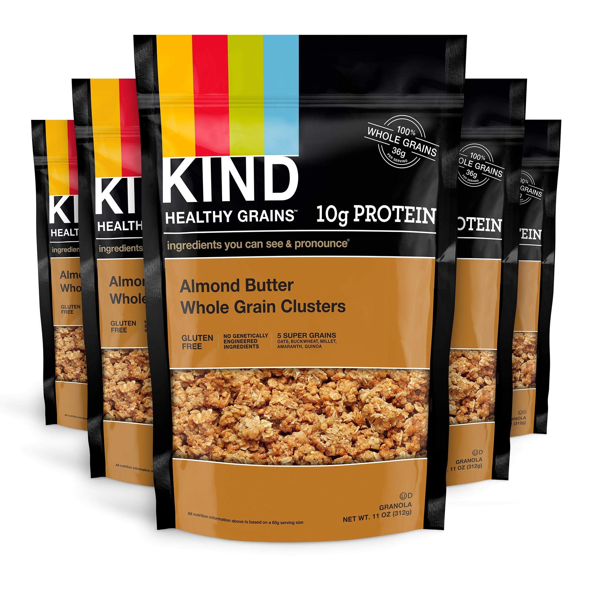 KIND Healthy Grains Clusters, Almond Butter Granola, 10g Protein, Gluten Free, 11 Ounce Bags, 6 Count by KIND