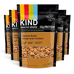 KIND Healthy Grains Clusters, Almond Butter Granola, 10g Protein, Gluten Free, 11 Ounce Bags, Pack of 6