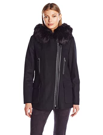 9f6b591ad7b Amazon.com  Calvin Klein Women s Wool Coat with Pu Trim  Clothing