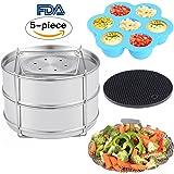 KINDEN Instant Pot Accessories - Stackable Stainless Steel Food Steamer Insert Pans, Vegetable Steamer Basket, Silicone Egg Bites Molds, Silicone Pot Holder, 5 pcs/set for 5,6,8QT Pressure Cooker