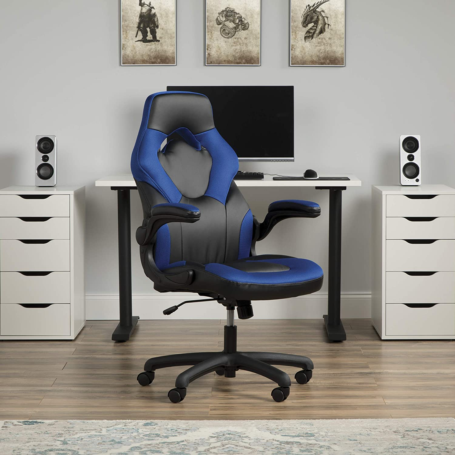 Essentials Racing Style Leather Gaming Chair – Ergonomic Swivel Computer, Office or Gaming Chair, Blue ESS-3085-BLU