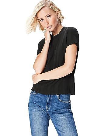 FIND T-Shirt Damen mit Ripp-Struktur und Rüschen Am Saum, Schwarz (