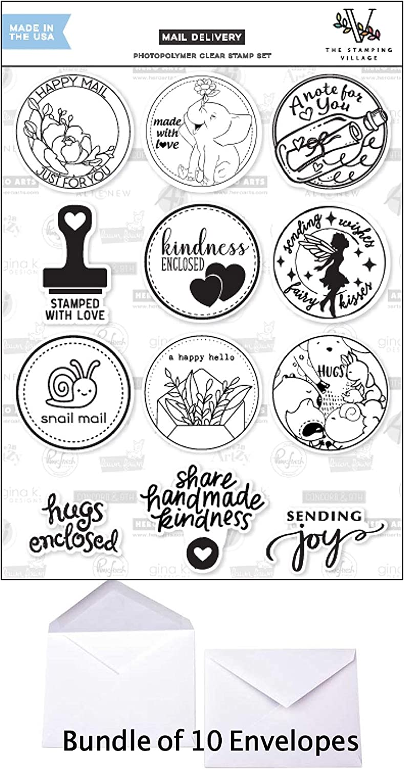 Lawn Fawn Stamping Village Mail Delivery Clear Stamps, 12 Stamps Includes Hero Arts, Gina K, Pink Fresh, Waffle Flower, Jennifer McGuire, Altenew and More TSV0119 + 10 (5 3/4x4 1/2) White Envelopes