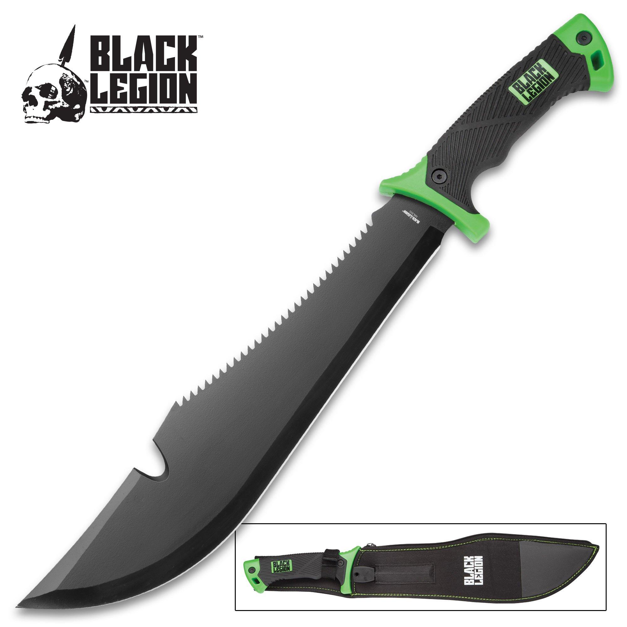 Black Legion Jungle Hunter Bush Machete with Nylon Sheath | Sawback Serrations | Fire Starter