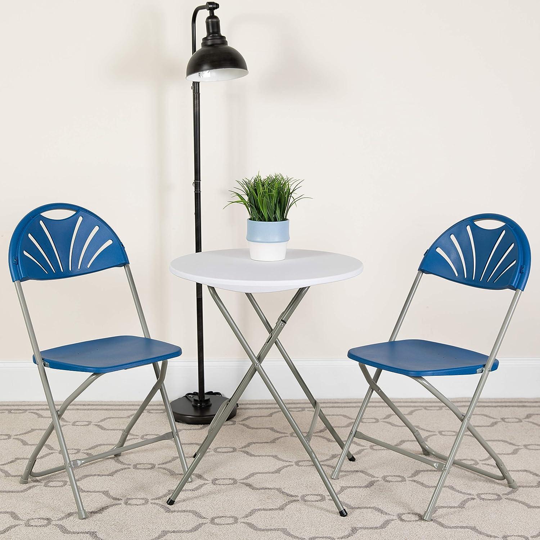Flash Furniture 2 Pack HERCULES Series 650 lb. Capacity Blue Plastic Fan Back Folding Chair