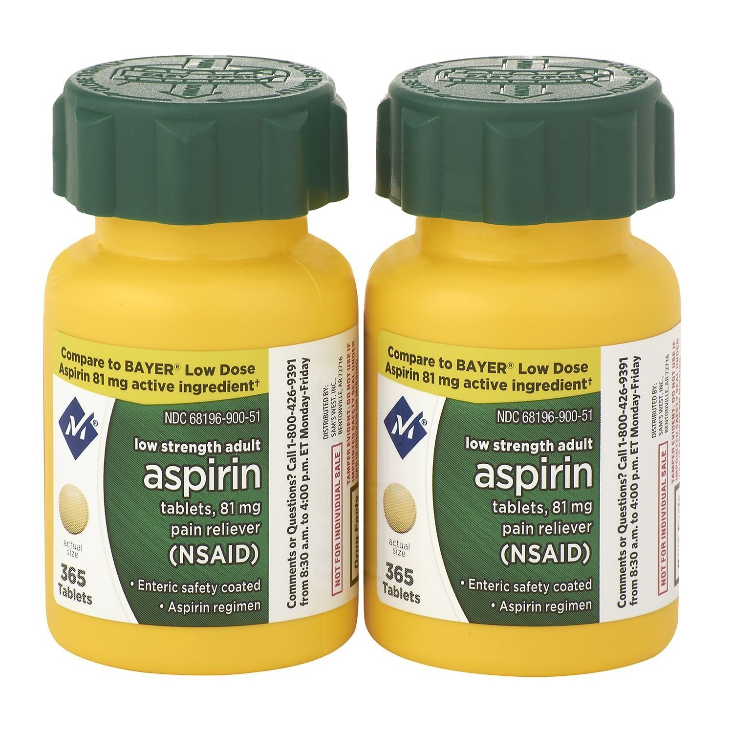 Sam's West Member's Mark Low Strength Adults Enteric Safety Coated Aspirin Regimen Tablets Pain Reliever NSAID, 81 mg, 2 Bottles, 730 Tablets