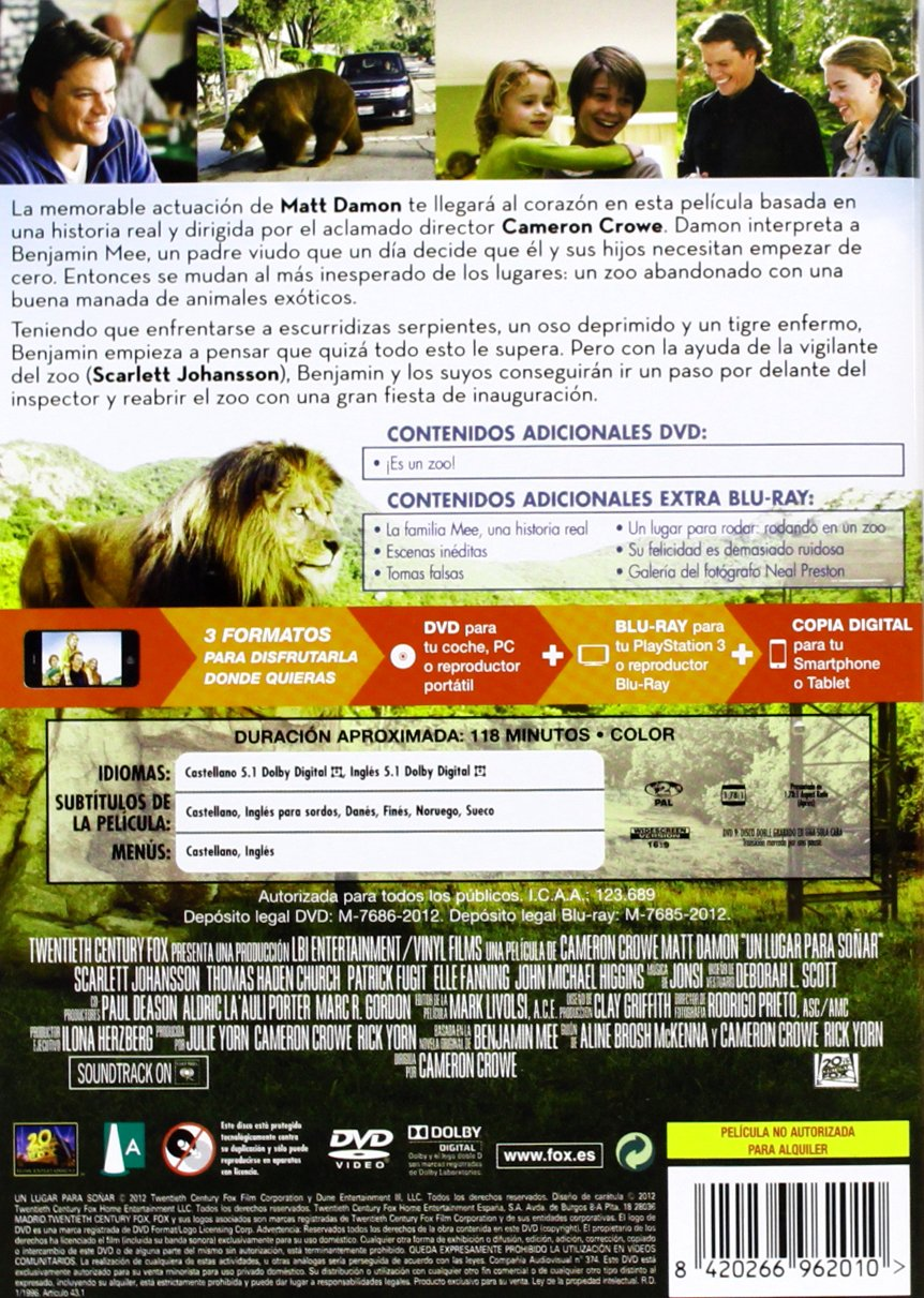 Amazon.com: WE BOUGHT A ZOO (Un lugar para soñar) (dvd+BR+Digital Copy) Region 2 - PAL format: Movies & TV