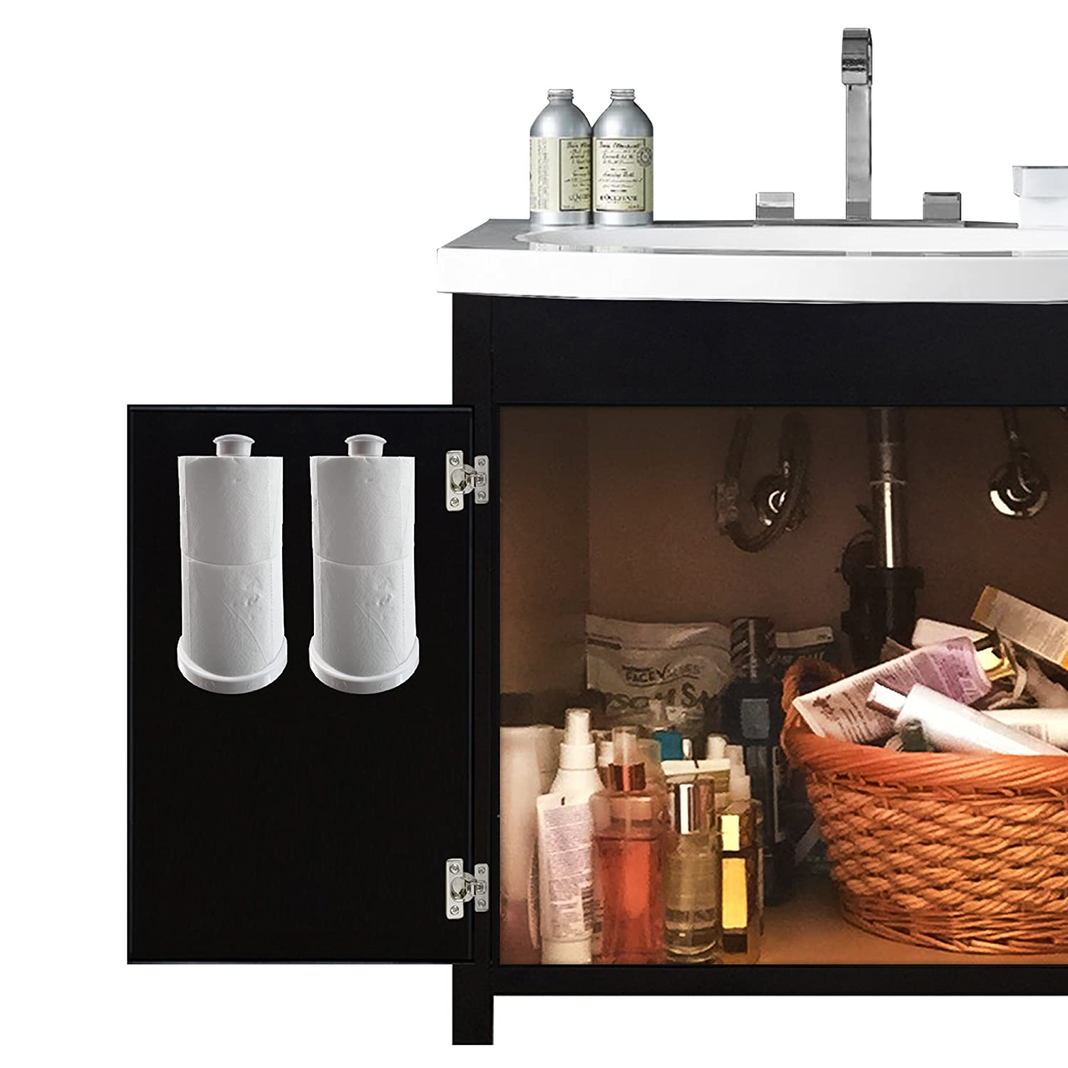 Spare toilet paper holder attaches inside bathroom vanity for Bathroom ideas 3m x 3m