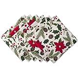 """DII 100% Cotton, Machine Washable, Oversized Holiday 20x20"""" Napkin Set of 6, Woodland Christmas"""