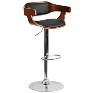 Flash Furniture Walnut Bentwood Adjustable Height Barstool with Wrap Style Arms and Black Vinyl Seat