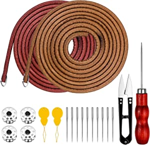 Homgaty 2 Piece 183 cm 3/16 Inch Leather Belt Treadle Parts with 4 Hooks, Sewing Machine Spool, Needle Threader, Sewing Needles,Sewing Appliance and Sewing Scissors Compatible with Singer/Jones Sewing