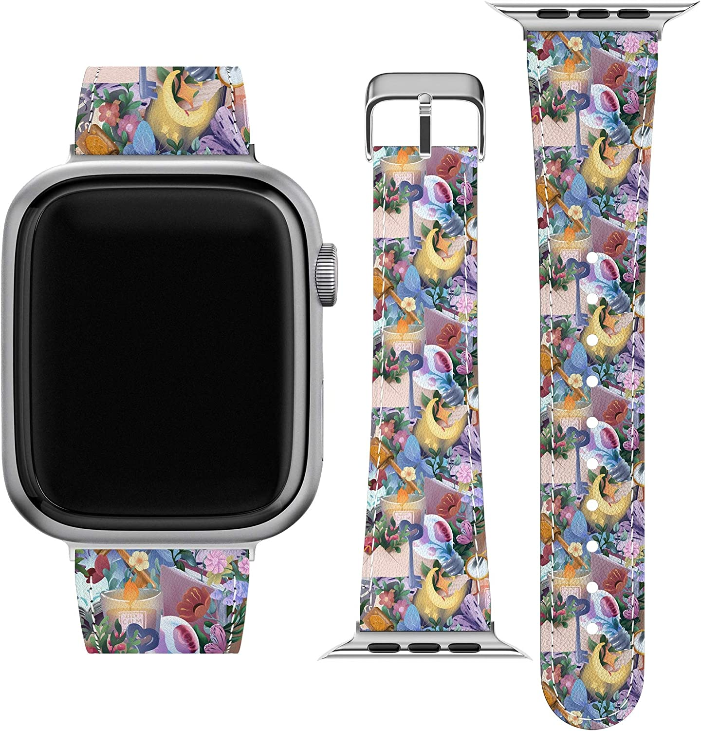 Lex Altern Band Compatible with Apple Watch Series 6 SE 5 4 3 2 1 38mm 40mm 42mm 44mm Flowers Cute Replacement Strap for iWatch Thin Stylish Vegan Leather Reading Bookworm Books Nerd Print Slim wh116