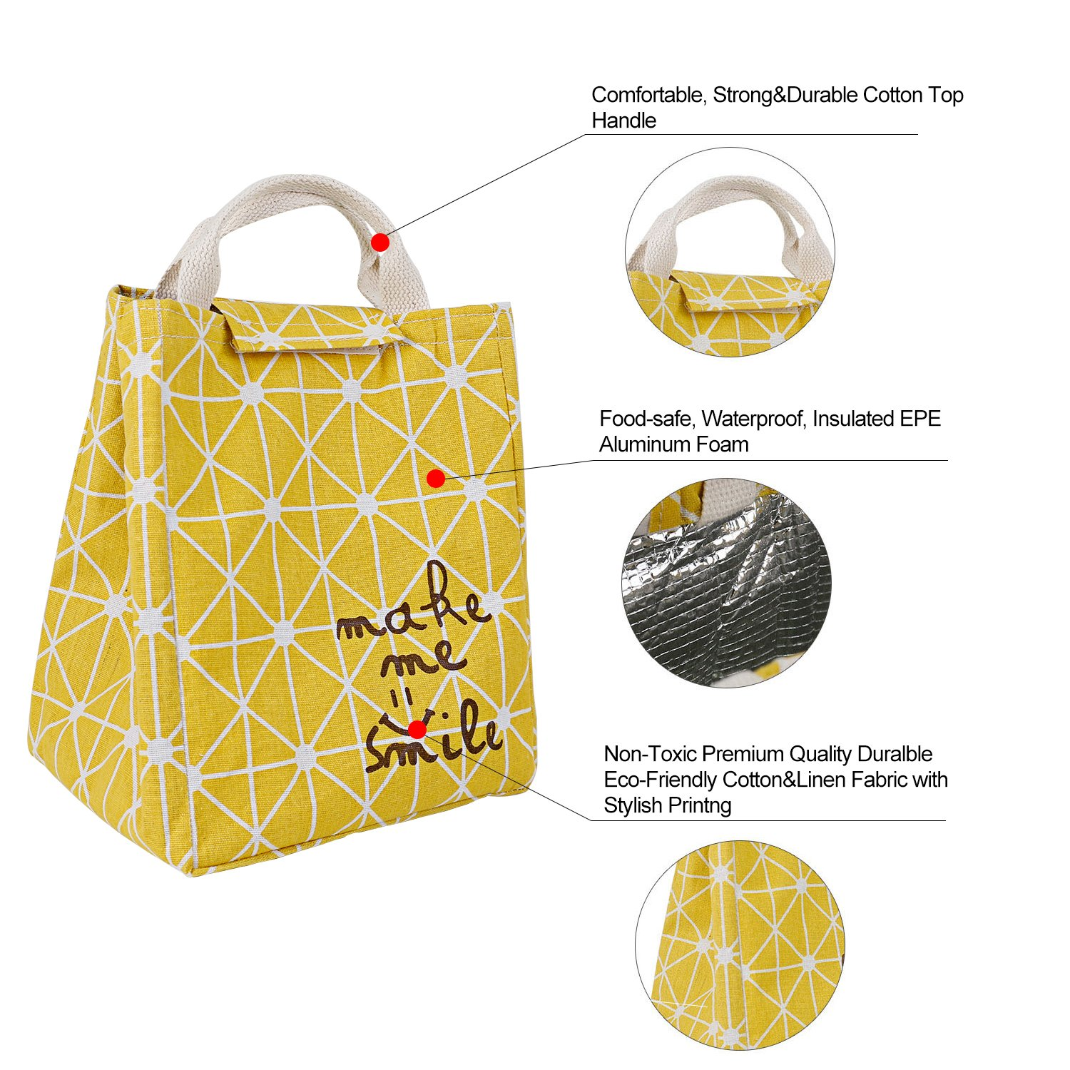HOMESPON Reusable Lunch Bags Printed Canvas Fabric with Insulated Waterproof Aluminum Foil, Lunch Box for Women, Kids, Students (Rhombus Pattern-Yellow) by HOMESPON (Image #3)