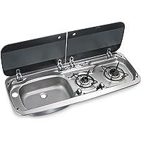 DOMETIC HSG 2370 L Combiné plan de cuisson à deux feux et évier, placé à gauche, avec couvercle en verre, p370xh152xl900mm