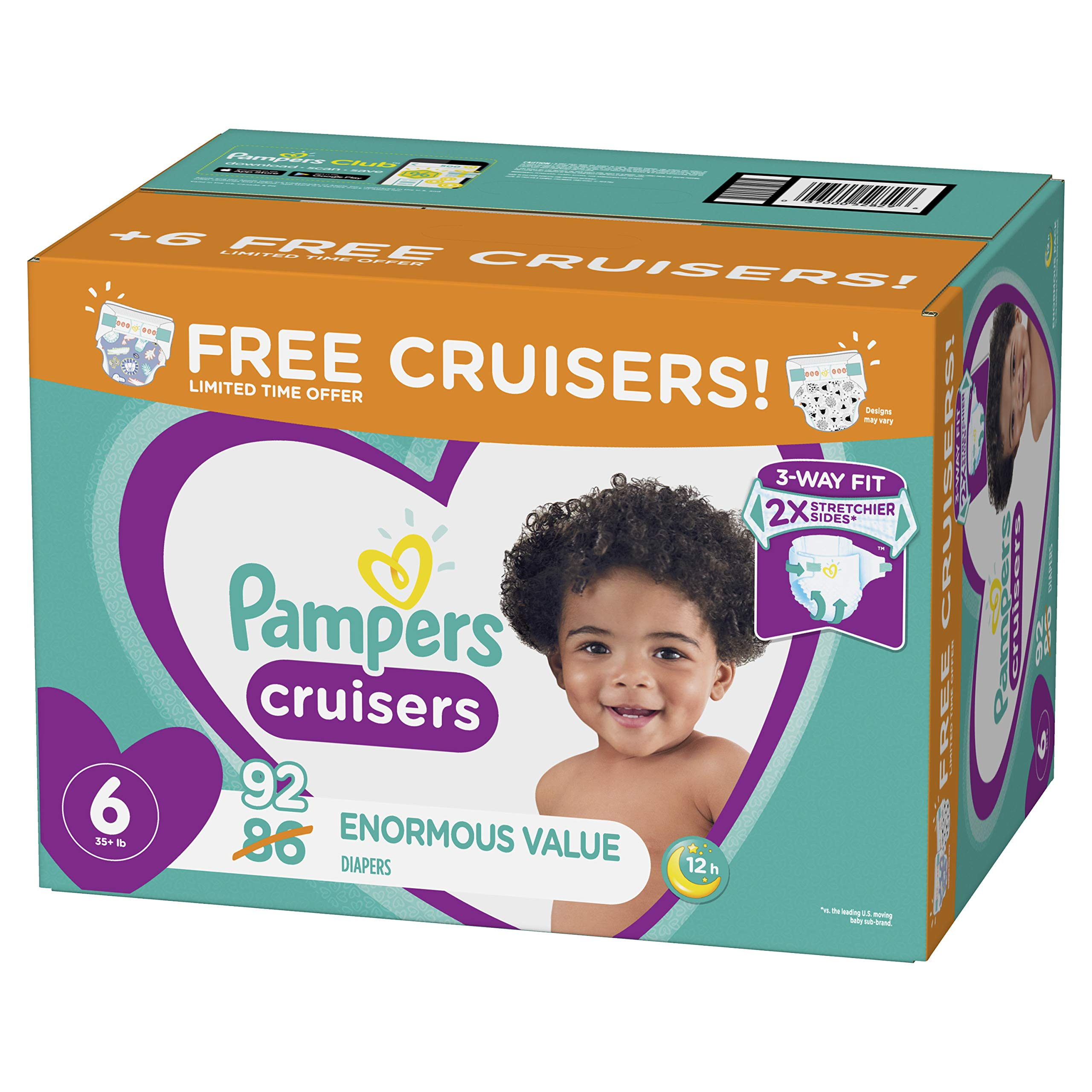 Diapers Size 6, 92 Count - Pampers Cruisers Disposable Baby Diapers, Enormous Pack, Plus Bonus Diapers by Pampers