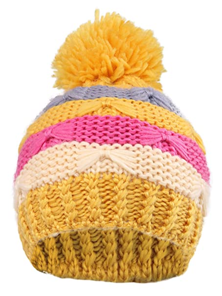 Amazon.com  YoungLove Kids Winter Stripes Cable Knit Beanie Hat ... 3182cd14b05
