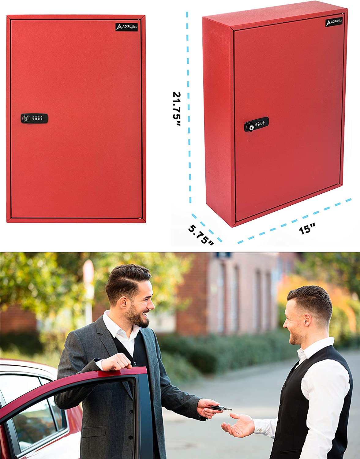 RED AdirOffice 200 Key Storage Cabinet with Combination and Key Lock Heavy Duty Secured Storage Steel- Ideal for Homes Hotels Schools /& Businesses