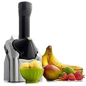 Yonanas 902 Classic Original Healthy Dessert Fruit Soft Serve Maker Creates Fast Easy Delicious Dairy Free Vegan Alternatives to Ice Cream Frozen Yogurt Sorbet Includes Recipe Book BPA Free, Silver