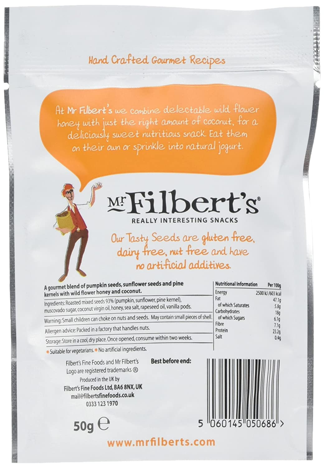 Mr Filberts Honey Roasted Tasty Seeds 50 G Pack Of 12 Amazonco