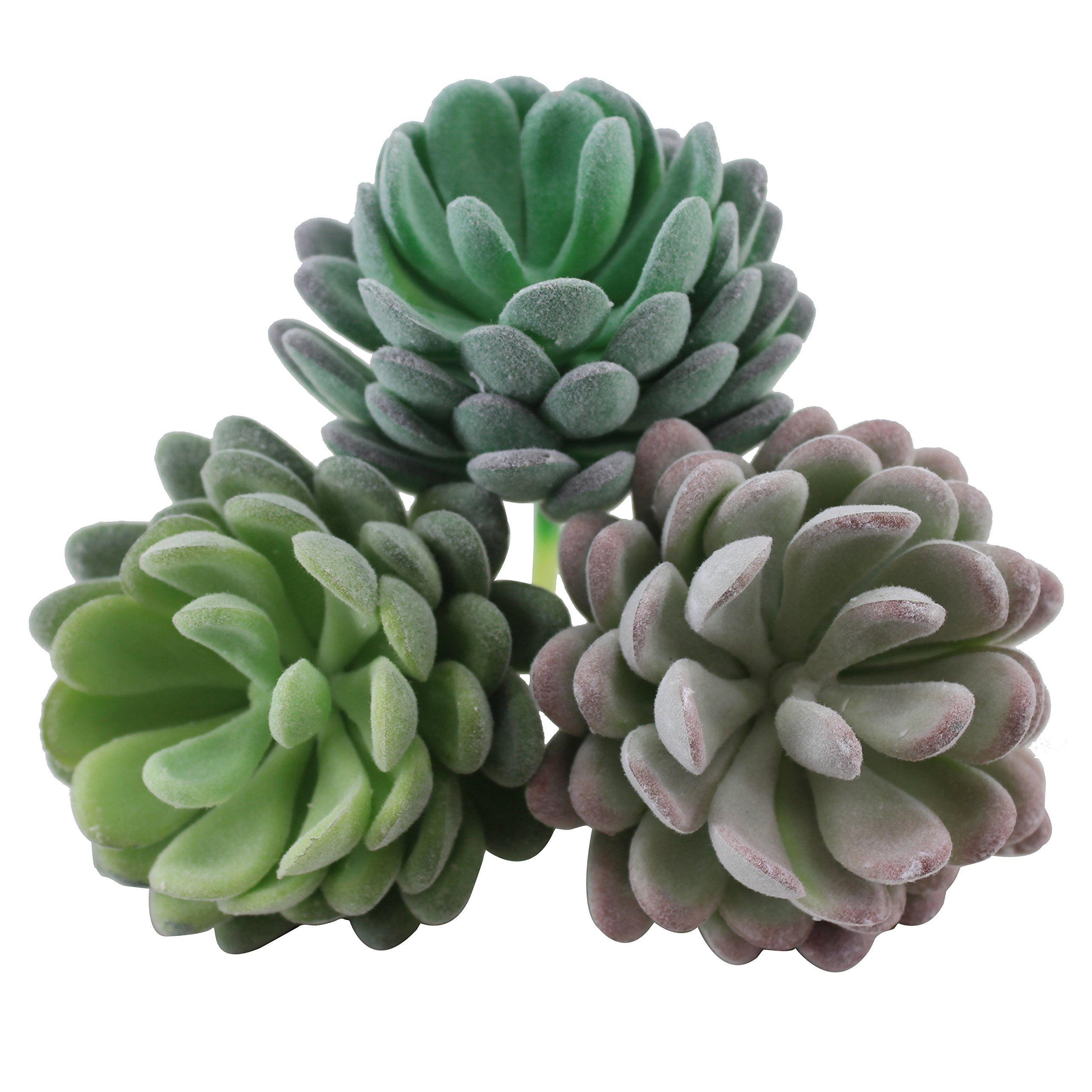 Greatflower Pack of 6 Mixed Colors Flocking Coating Artificial Succulents Fake Plant DIY Materials,2.7''