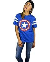 Marvel Womens Captain America Logo Varsity Football Tee