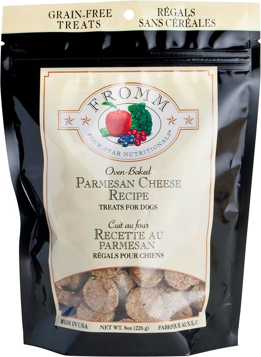 Fromm Four-Star Parmesan Cheese Grain-Free Dog Treats,8-Ounce Bag