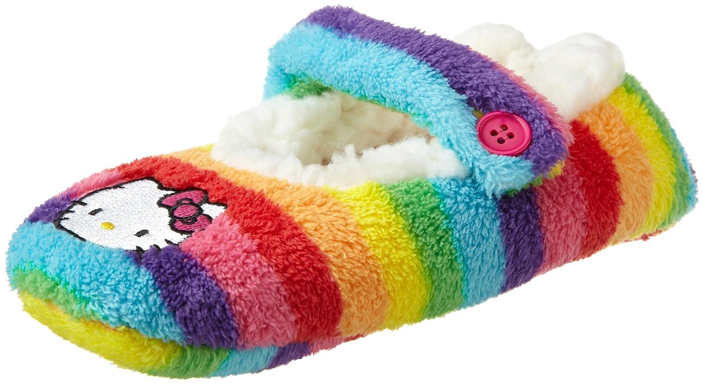 883bf504a Amazon.com: Hello Kitty Big Girls' Rainbow Stripe Fuzzy Babba Slipper  Socks, Multi, Medium/Large: Clothing