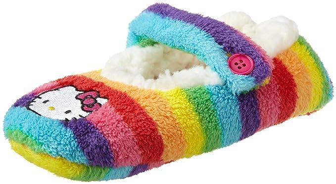 71c6fdfd0 Hello Kitty Big Girls' Rainbow Stripe Fuzzy Babba Slipper Socks, Multi,  Medium/