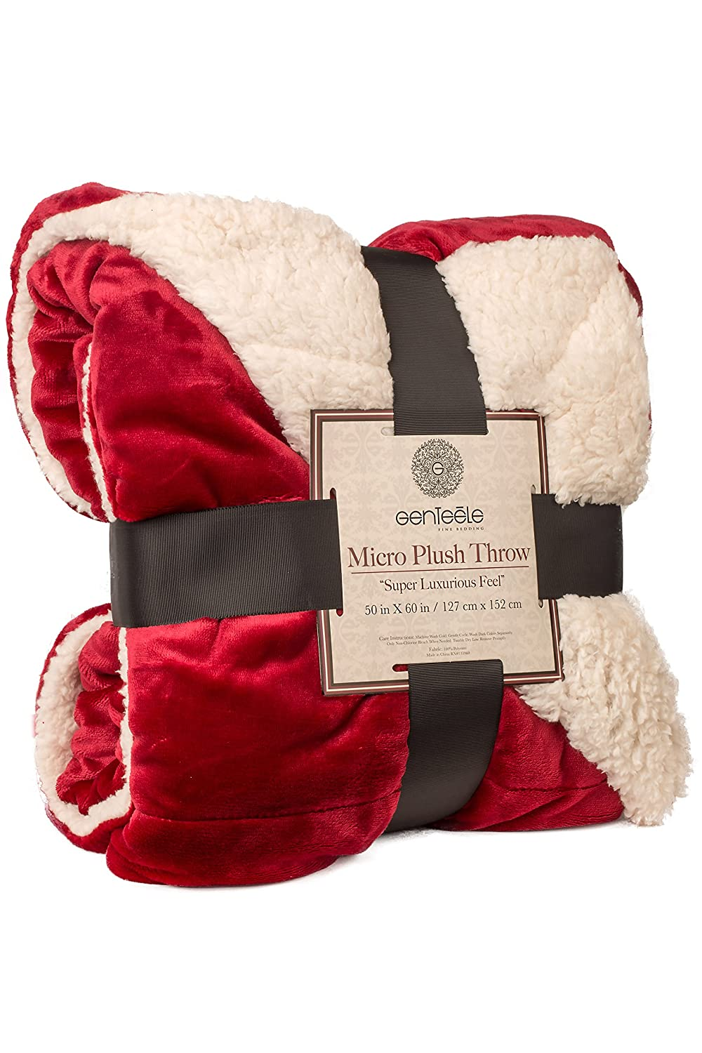 "Soft Luxurious Sherpa Throw Blanket, 19"" X 19"", Rich Burgundy Red ..."