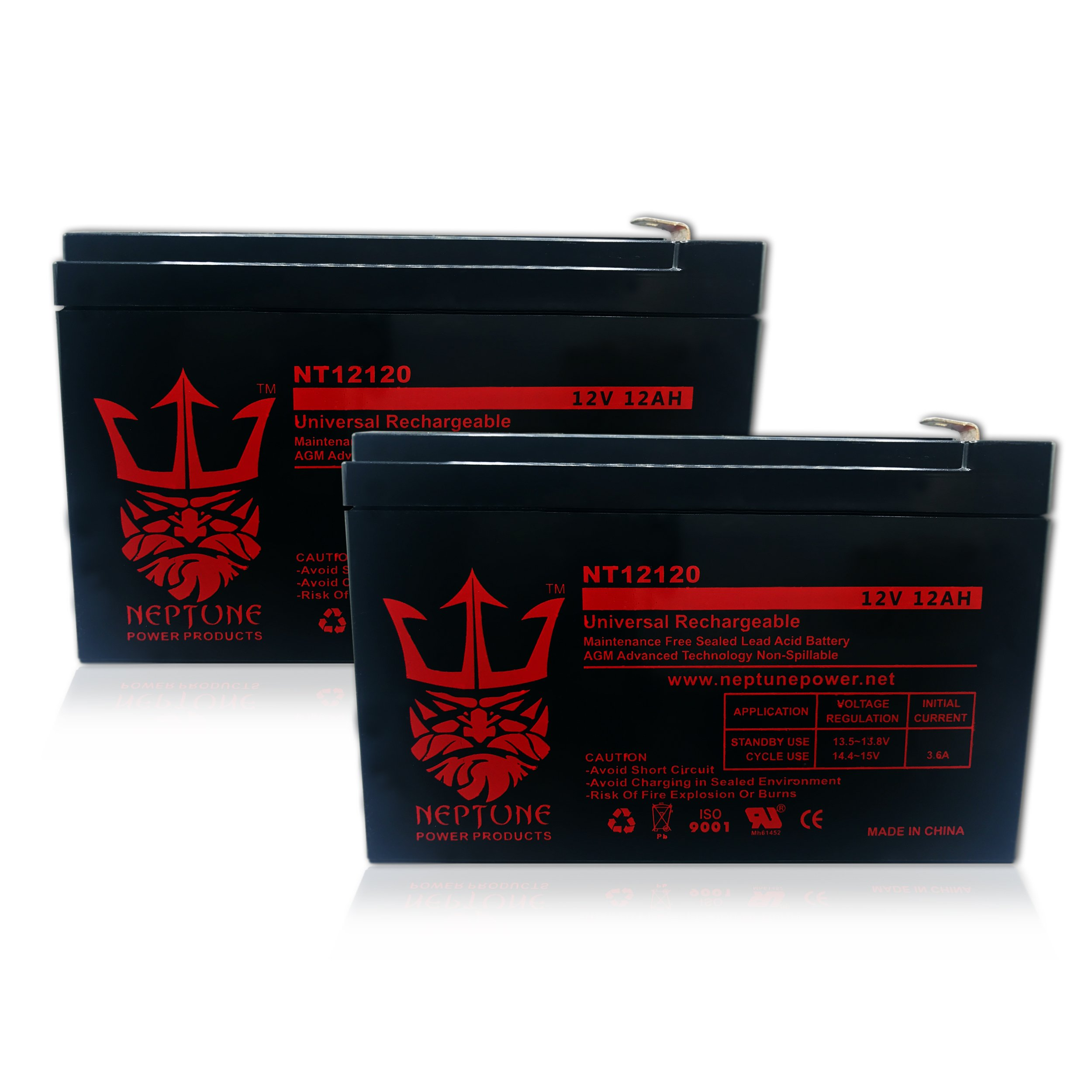 Pride Mobility Go Go 12V 12Ah Replacement Battery by Neptune - 2 pack